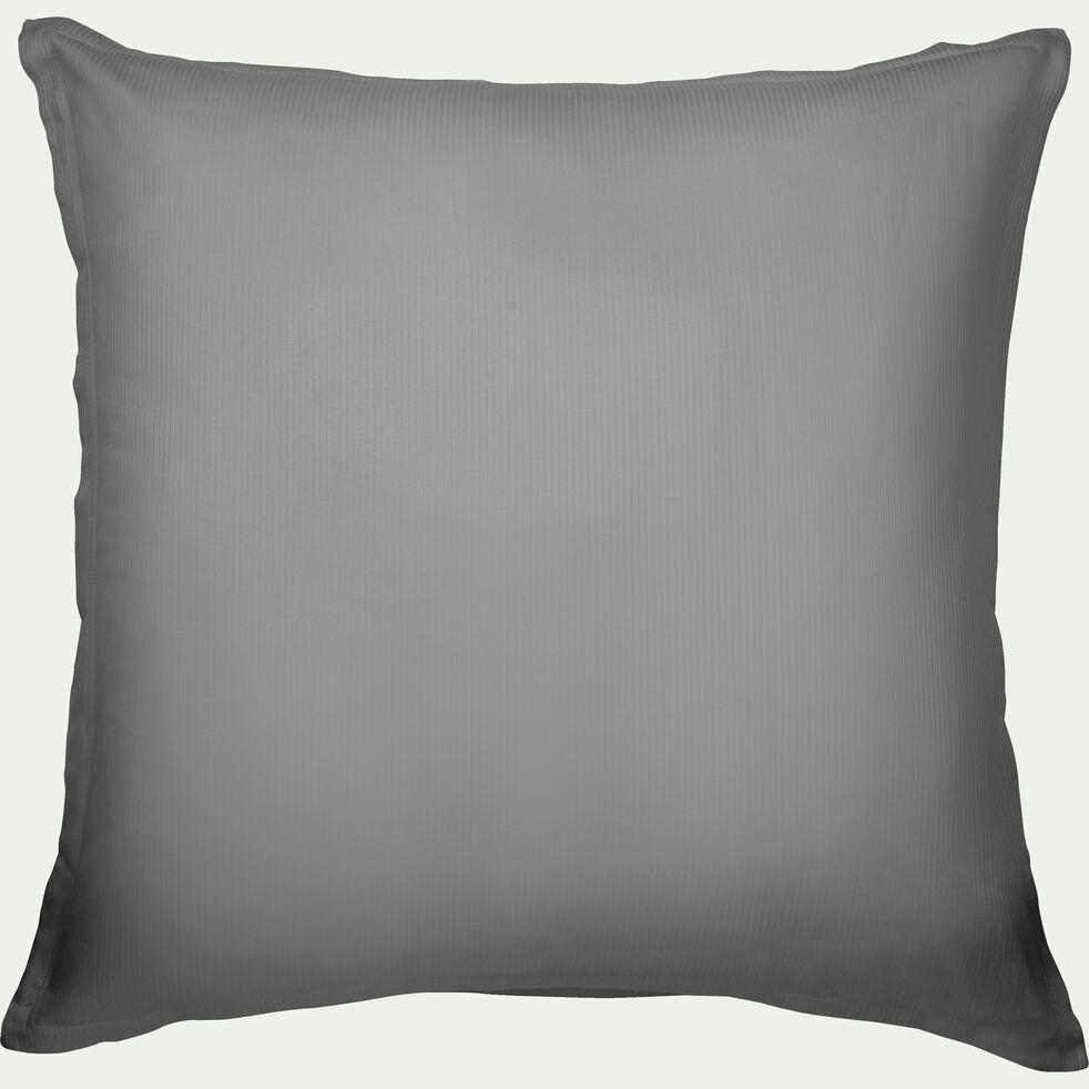 Lot de 2 taies d'oreiller rayées en satin - gris restanque 65x65cm-SANTIS