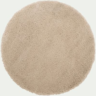 Tapis rond à poils longs - blanc écru D160cm-KRIS