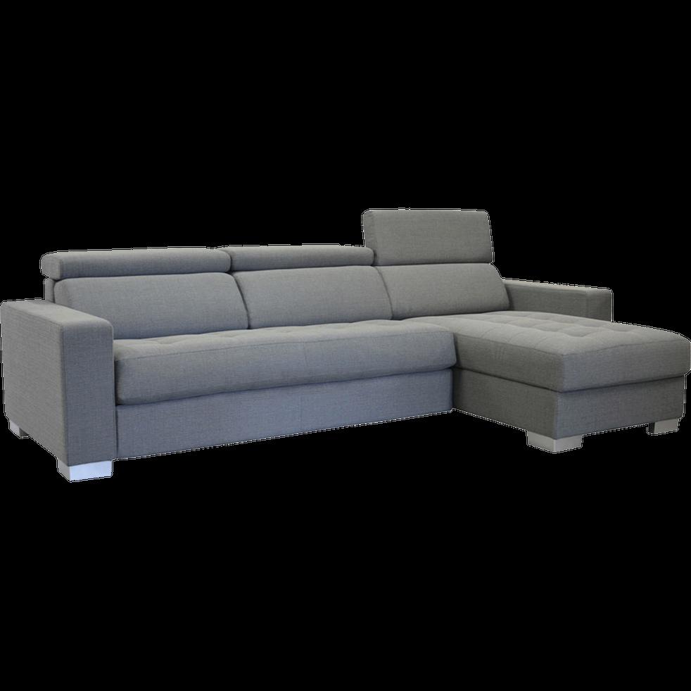 Canapé d'angle réversible en tissu gris-Mauro