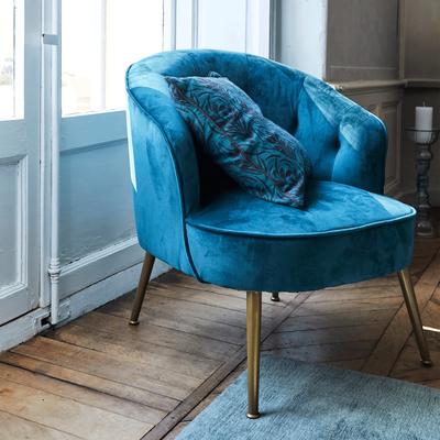 Fauteuil en velours bleu figuerolles-MARCELLIN