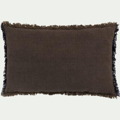 Coussin à franges en lin marron et bleu 30x50cm-CREPUSCULE