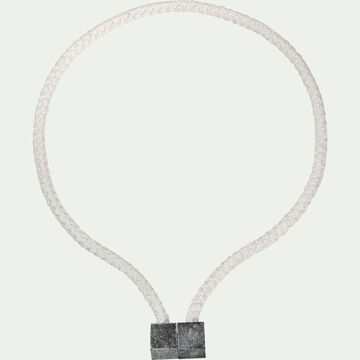 Embrasse magnétique en viscose et bois - blanc-ZORA