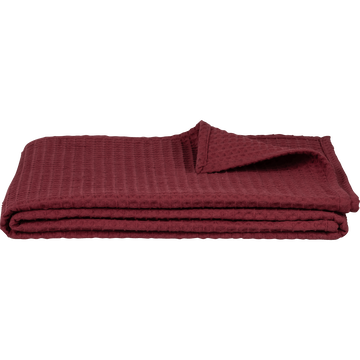 Plaid en coton gaufré rouge sumac 130x170cm-GOYA