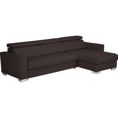 Canapé d'angle réversible convertible en cuir de buffle marron-MAURO