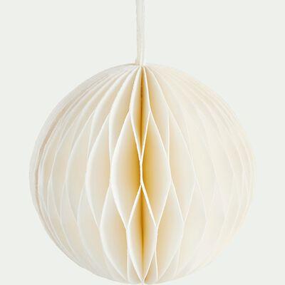 Boule de Noël en papier blanche D7cm-VERNIER