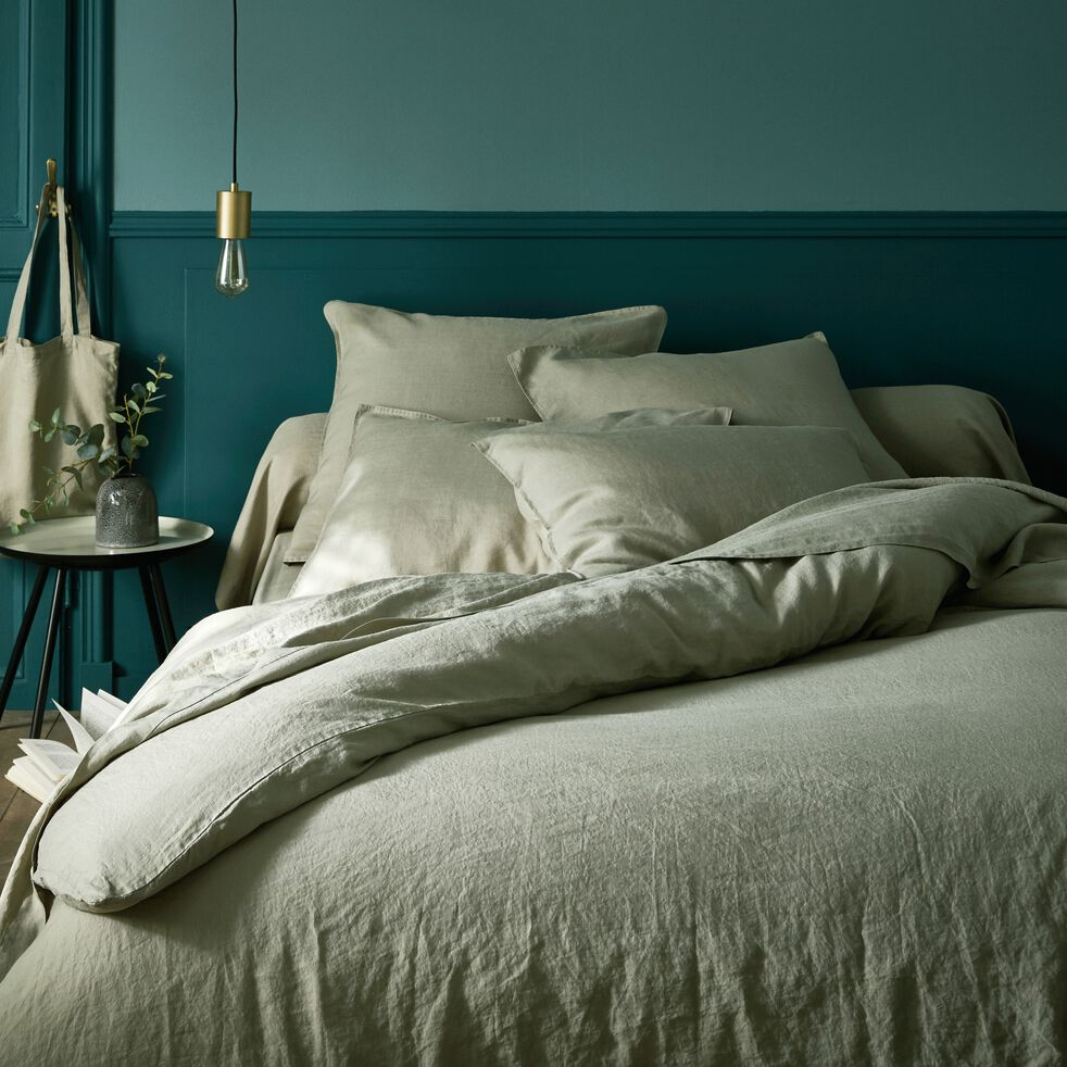 Linge de lit en lin vert olivier-VENCE