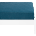 drap housse en lin lavé bleu figuerolles 90x140cm-VENCE
