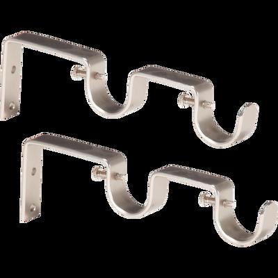 Lot de 2 doubles supports de tringle en acier argenté-Doddy
