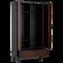 Armoire 2 portes battantes et 1 tiroir en hévéa massif-TAKEO