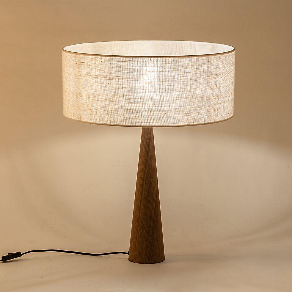 Lampe à poser en bois - blanc écru D50cm-KONE