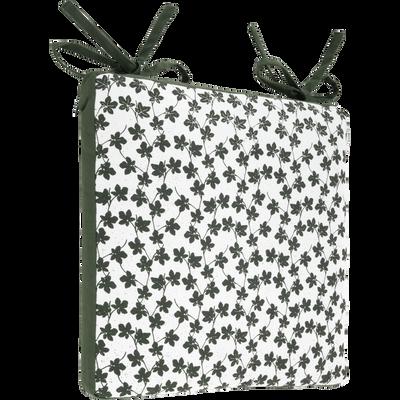 Galette de chaise carrée imprimé vert cèdre 38x38cm-FIGUIER