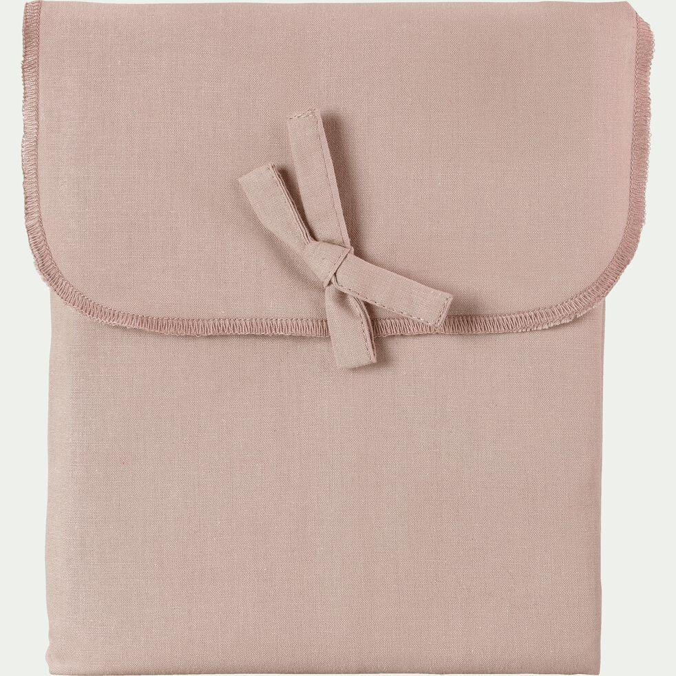 Taie de traversin en percale de coton - rose argile 43x190cm-FLORE