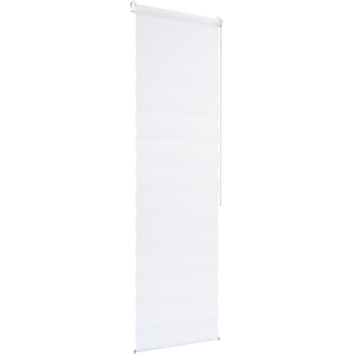 Store enrouleur tamisant épais blanc 62x190cm-JOUR-NUIT