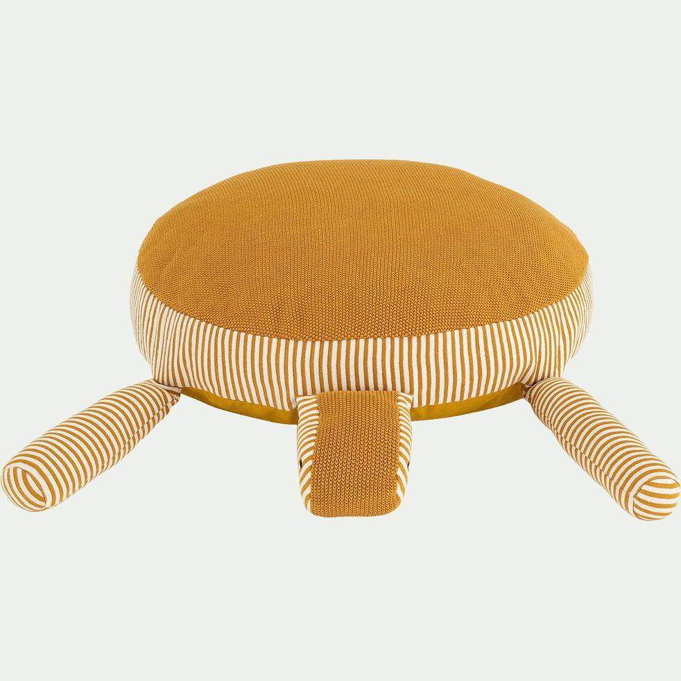 Peluche tortue GM rayée en coton bio - jaune moutarde-Moena