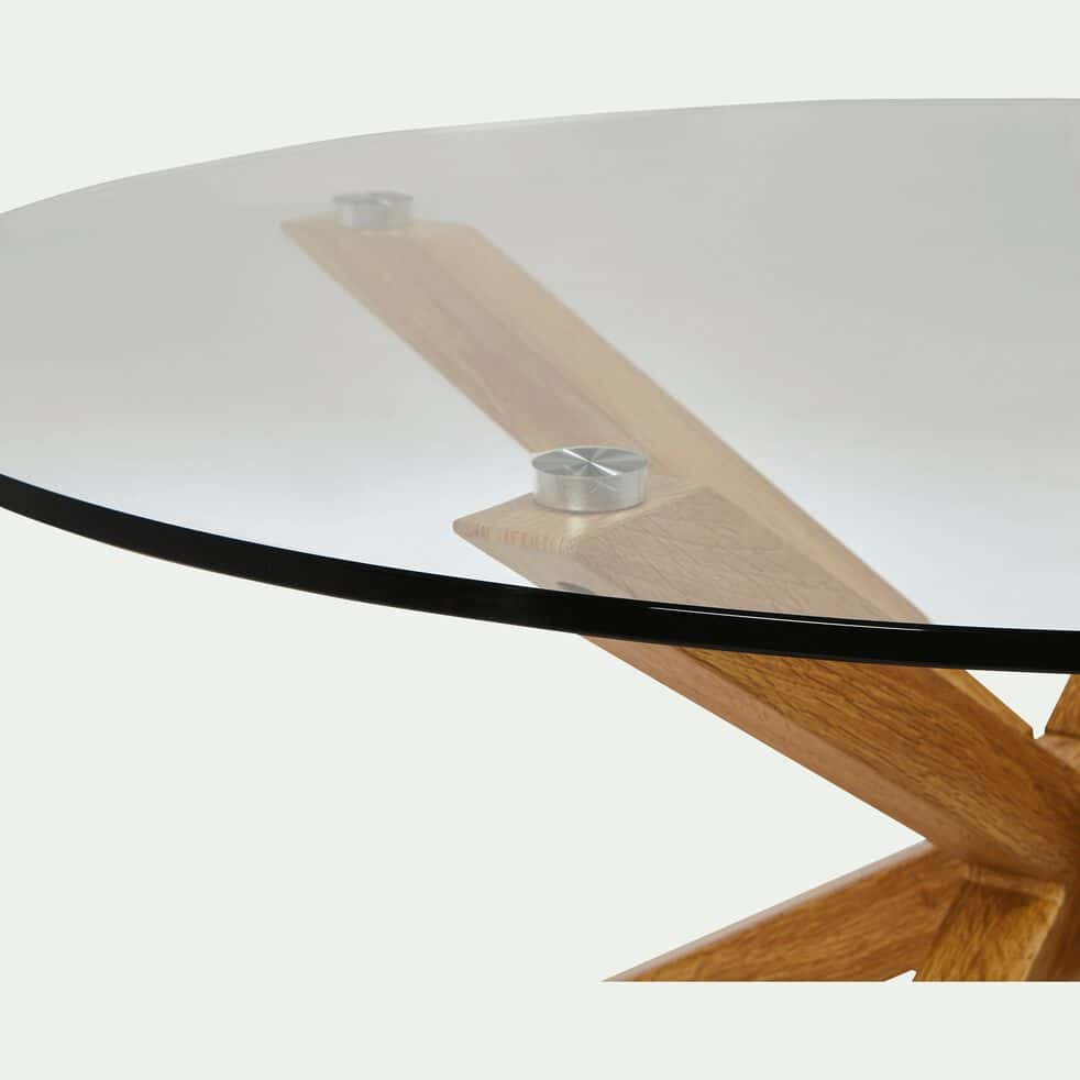 Table basse ronde en verre et piétement métal effet bois-ARENO