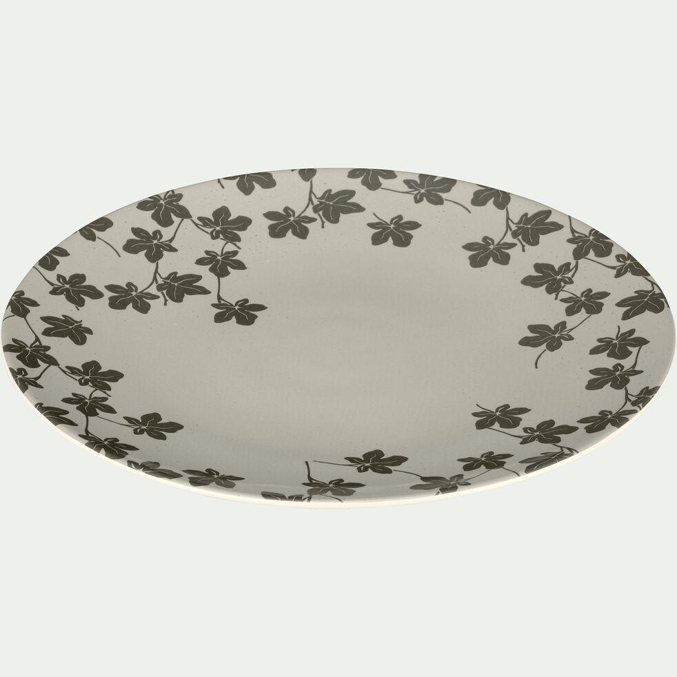 Assiette à dessert en porcelaine verte à motifs feuilles de figuier D21.5cm-FIGUIER