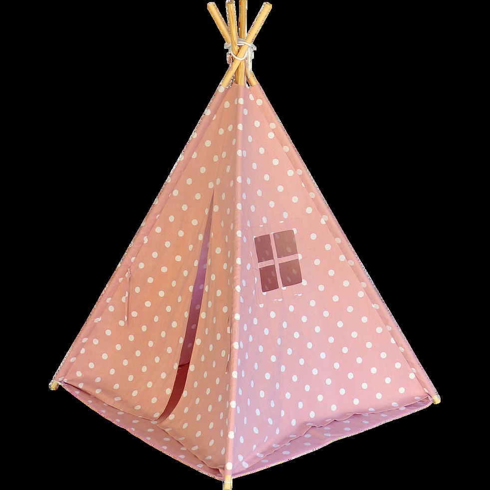tente tipi enfant rose motifs pois blancs h155cm pois tipis et tentes alinea. Black Bedroom Furniture Sets. Home Design Ideas