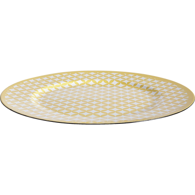 Assiette de présentation en plastique et motifs jaunes D33cm-PALMA