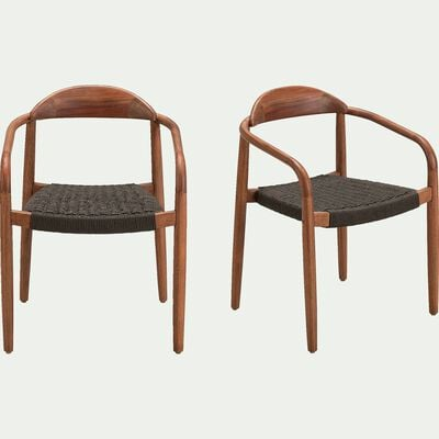 Chaise en eucalyptus et corde - vert cèdre H76cm-NANS