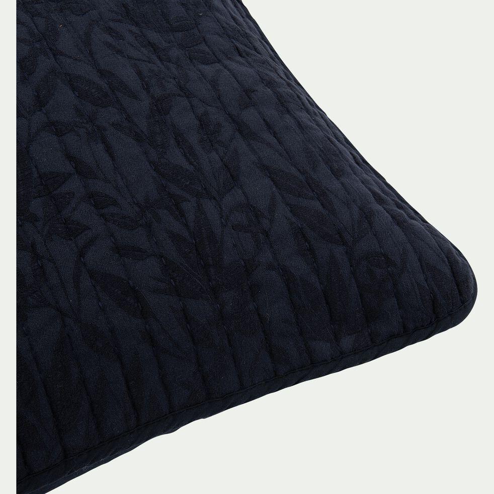 Housse de coussin motif Fleur d'oranger en coton, lin et viscose - bleu calabrun 65x65cm-ORANGER