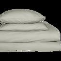 Drap housse en coton Vert olivier 140x200cm-bonnet 25cm-CALANQUES