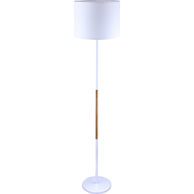 Lampadaire naturel et métal blanc H155cm-TERRENCE