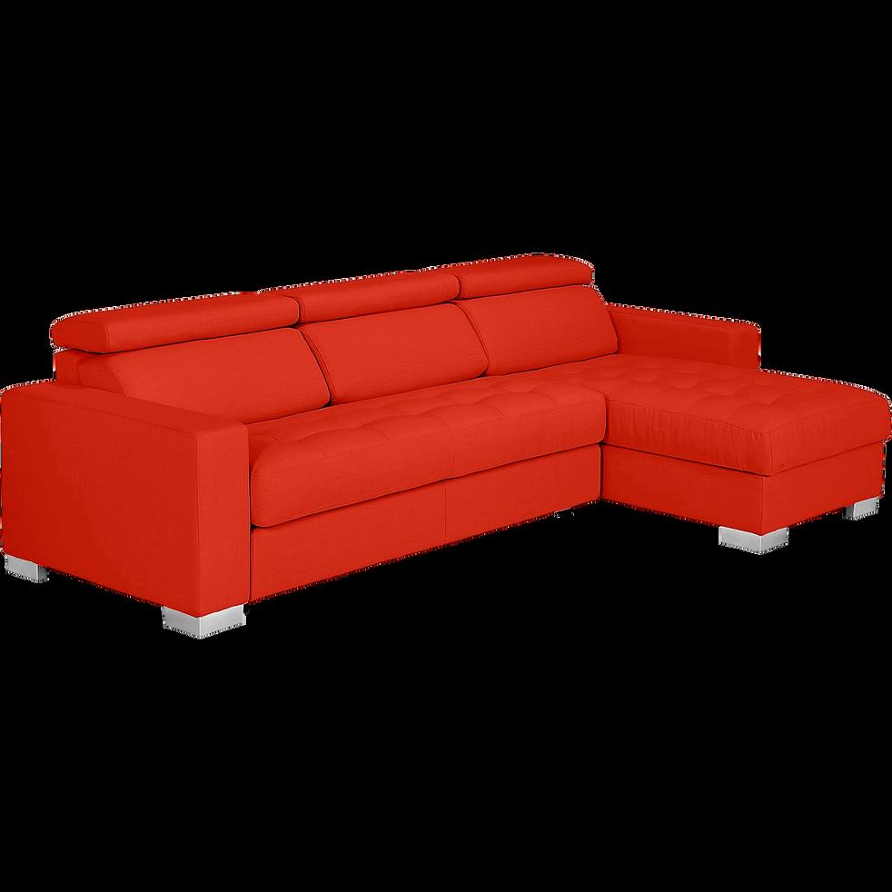 canap d 39 angle convertible en tissu rouge mauro. Black Bedroom Furniture Sets. Home Design Ideas