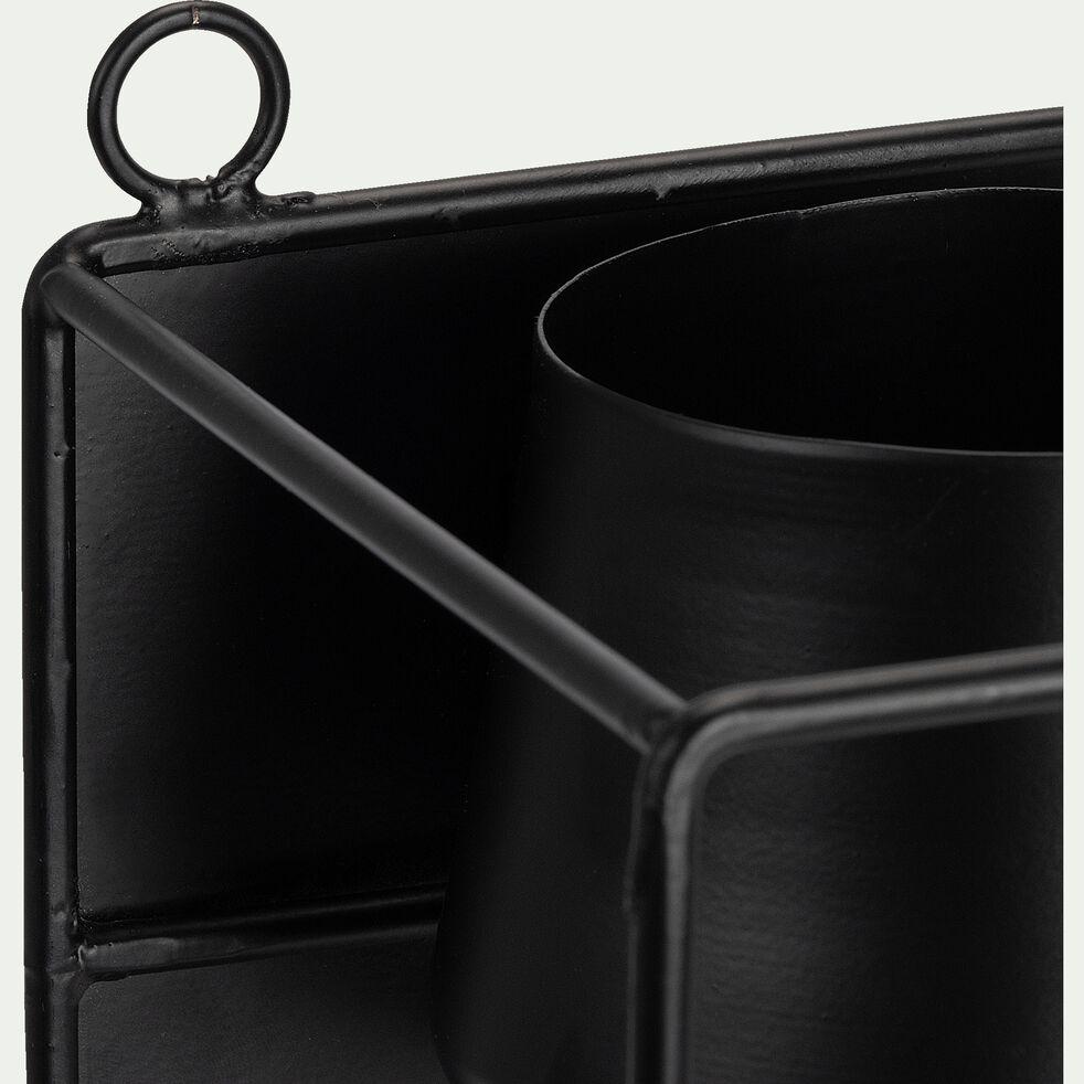 Porte-plante en métal - noir L15xl15xH26cm-ANGHJULINA