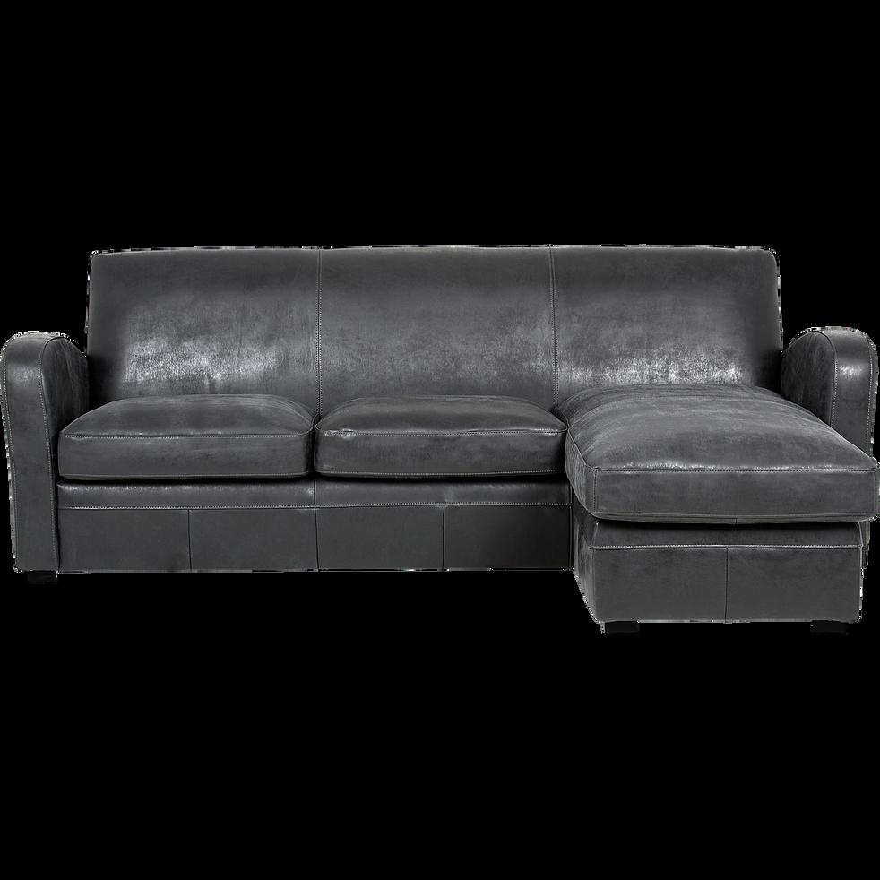 canapé d'angle réversible en croûte de cuir noir - cuba - canapés d