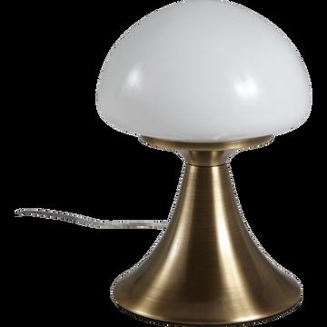 Lampe à poser sensitive en métal et verre H21cm-CHAMPI