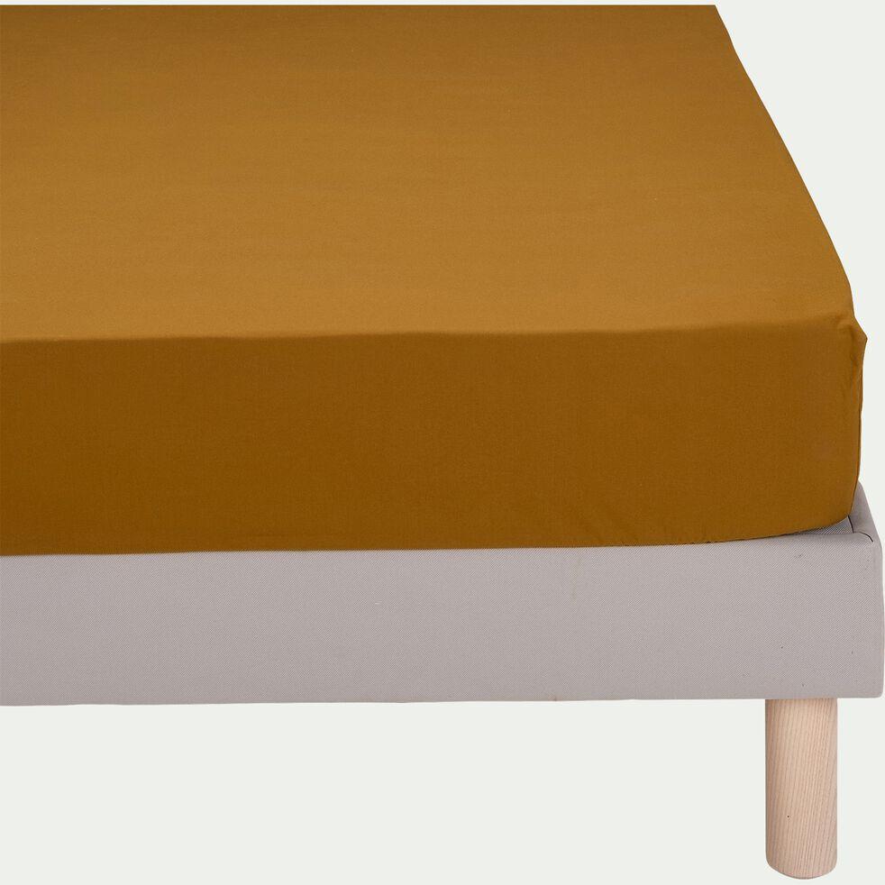 Drap housse en percale de coton - jaune alep 140x200cm B25cm-FLORE