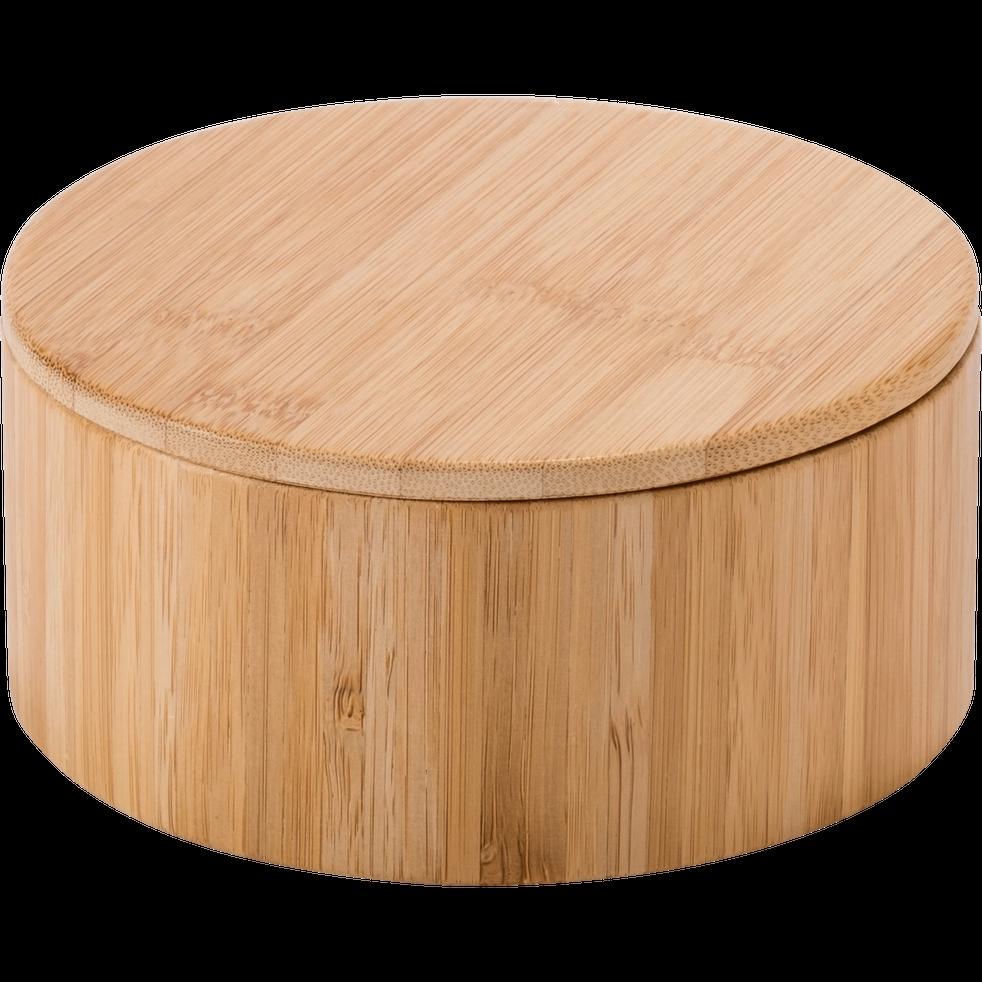 Boîte de rangement en bambou avec miroir D14,5xH6,5cm-REDON