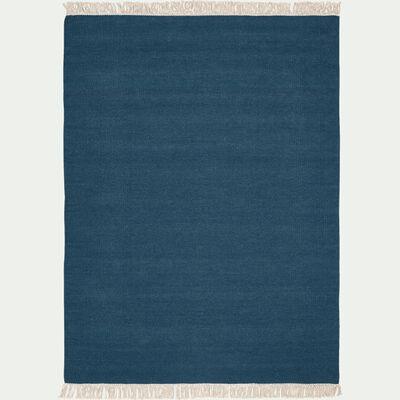 Tapis en laine et coton - bleu figuerolles 150x200cm-ULISSE