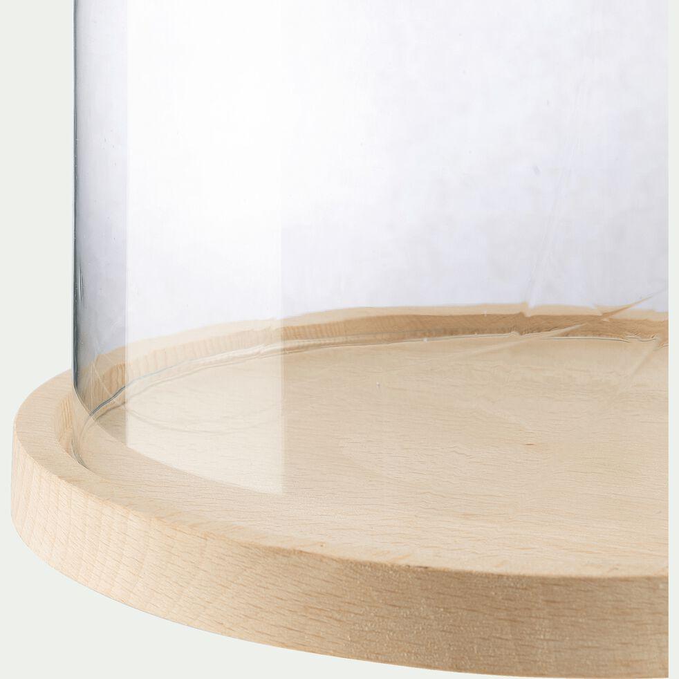 Cloche en verre et soucoupe en hêtre - transparent D21,5xH30cm-LAGUNE