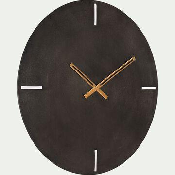 Horloge murale en aluminium effet ardoise - noir D58cm-THELIE