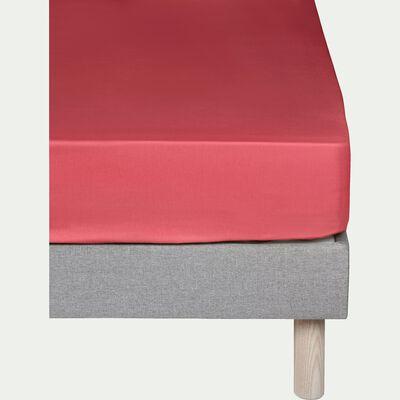 Drap housse en coton Rouge arbouse 160x200cm -bonnet 30cm-CALANQUES