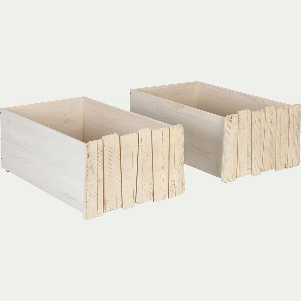 Lot de 2 tiroirs de lit à roulettes en pin massif - bois clair-Woody wood