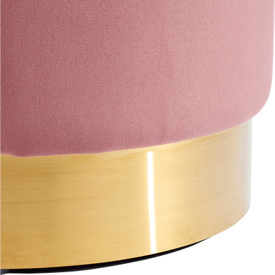 Pouf en velours petit modèle rose D35cm-AUVE