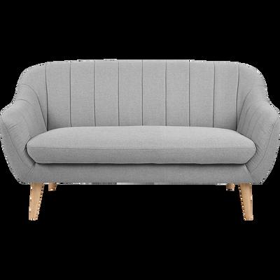 Canapé 2 places fixe en tissu gris clair-SHELL
