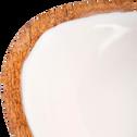 Coupelle ovale en manguier et résine blanche petit modèle-APHELIE