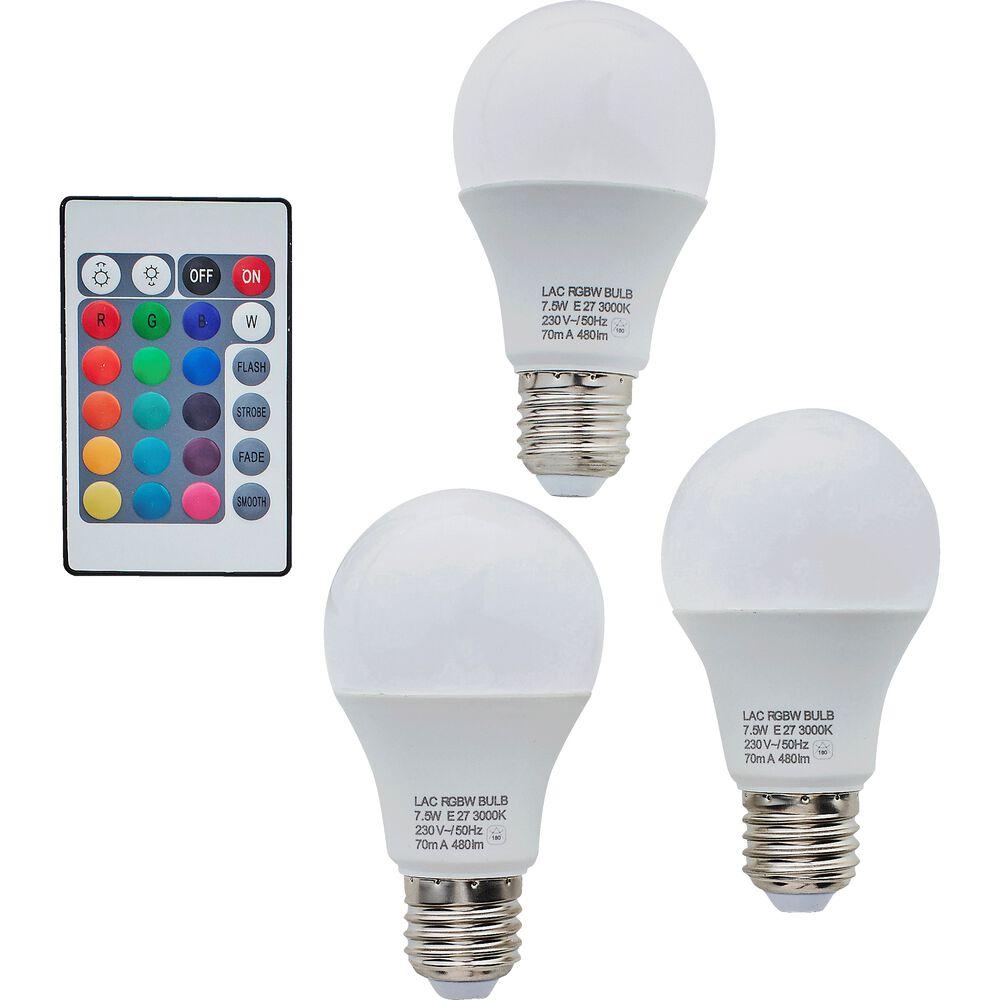 Lot de 3 ampoules rgb culot e27 avec...