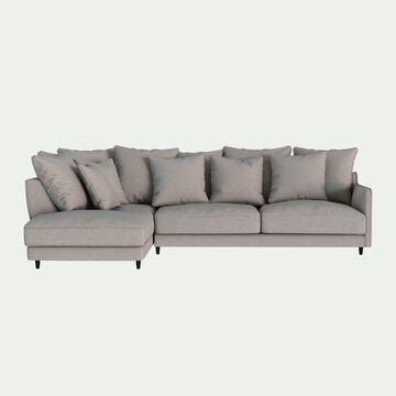 Canapé d'angle gauche fixe en tissu joint - gris borie-LENITA