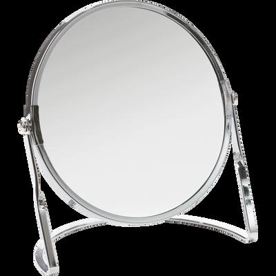Miroir grossissant chrome brillant diametre 15 cm-GLASS