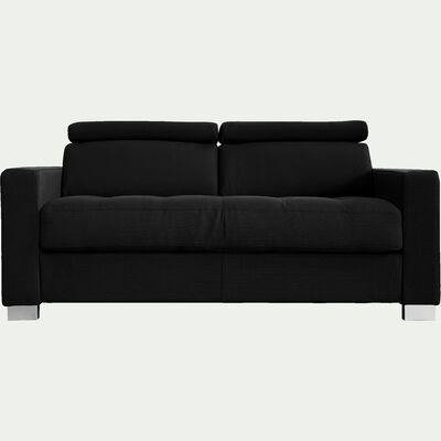 Canapé 2 places fixe en tissu - gris anthracite-MAURO