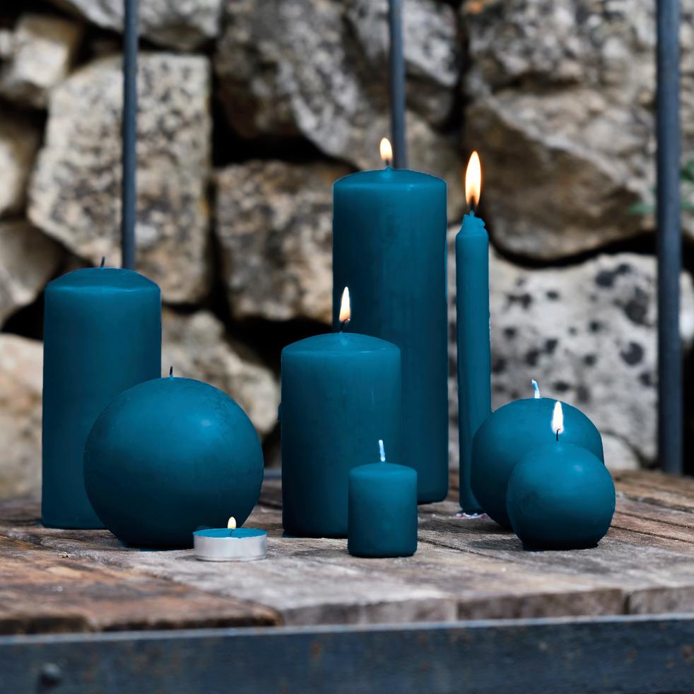 Bougie cylindrique bleu figuerolles H19,5cm-HALBA