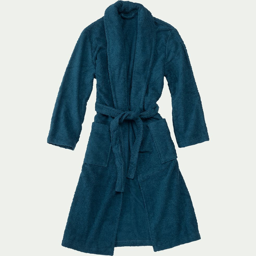 Peignoir en coton et polyester - bleu figuerolles S/M-AZUR