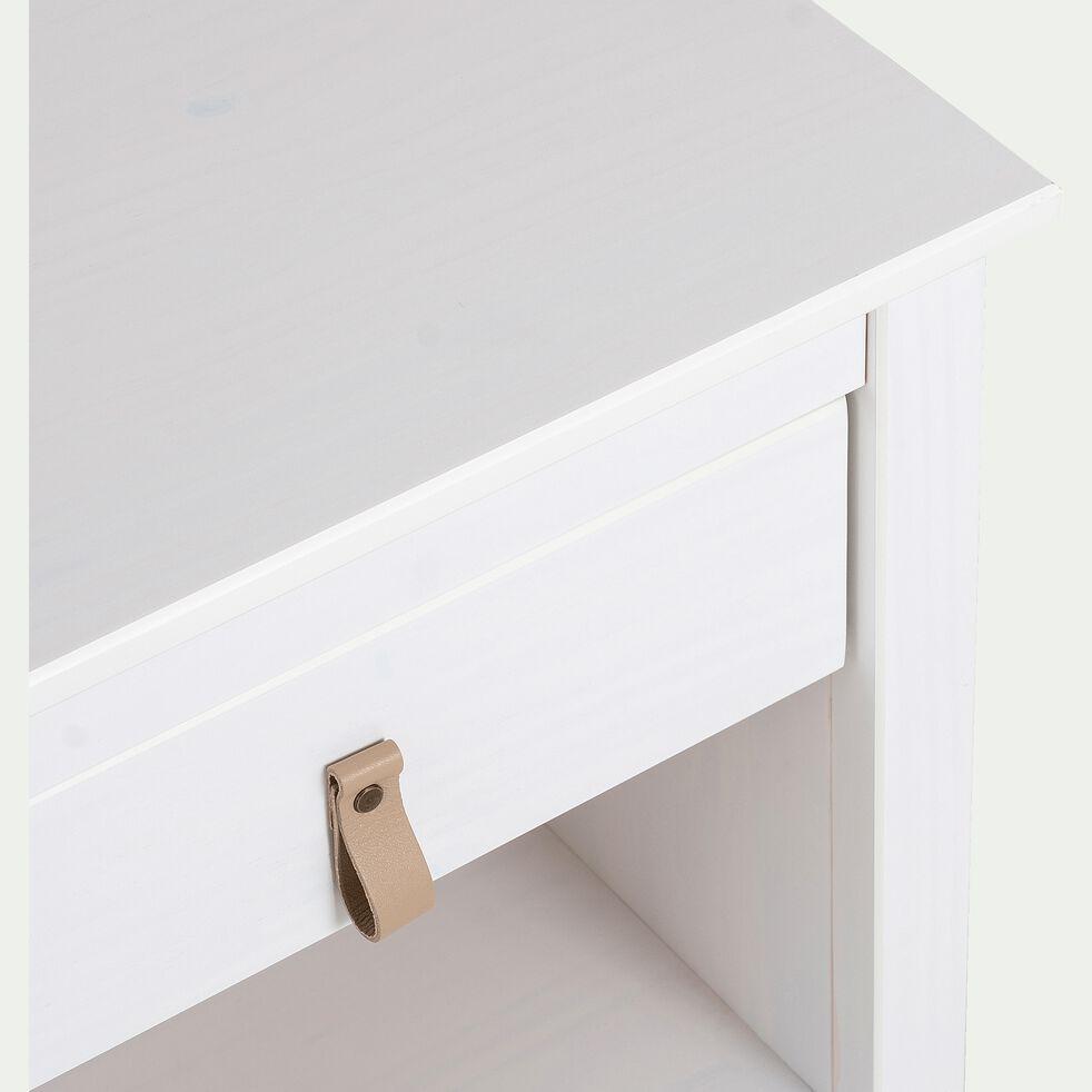 Table de chevet en bois avec tiroir - blanc-LISA