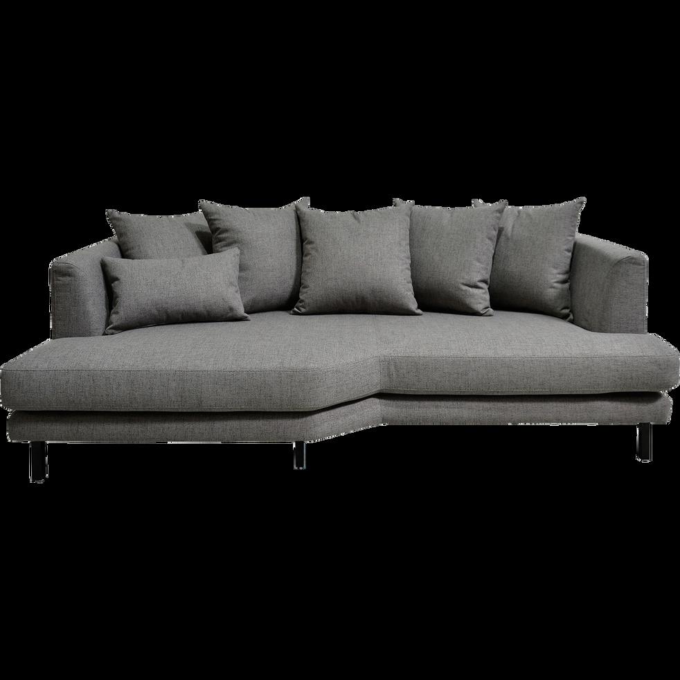 Canapé 3 places fixe gauche en tissu gris restanque-TESSOUN