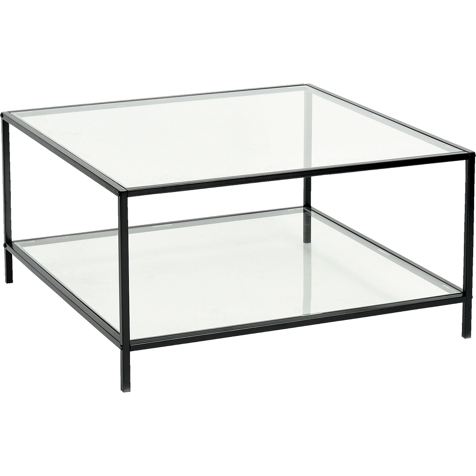 table basse carr e en m tal noir et verre h42cm loka. Black Bedroom Furniture Sets. Home Design Ideas