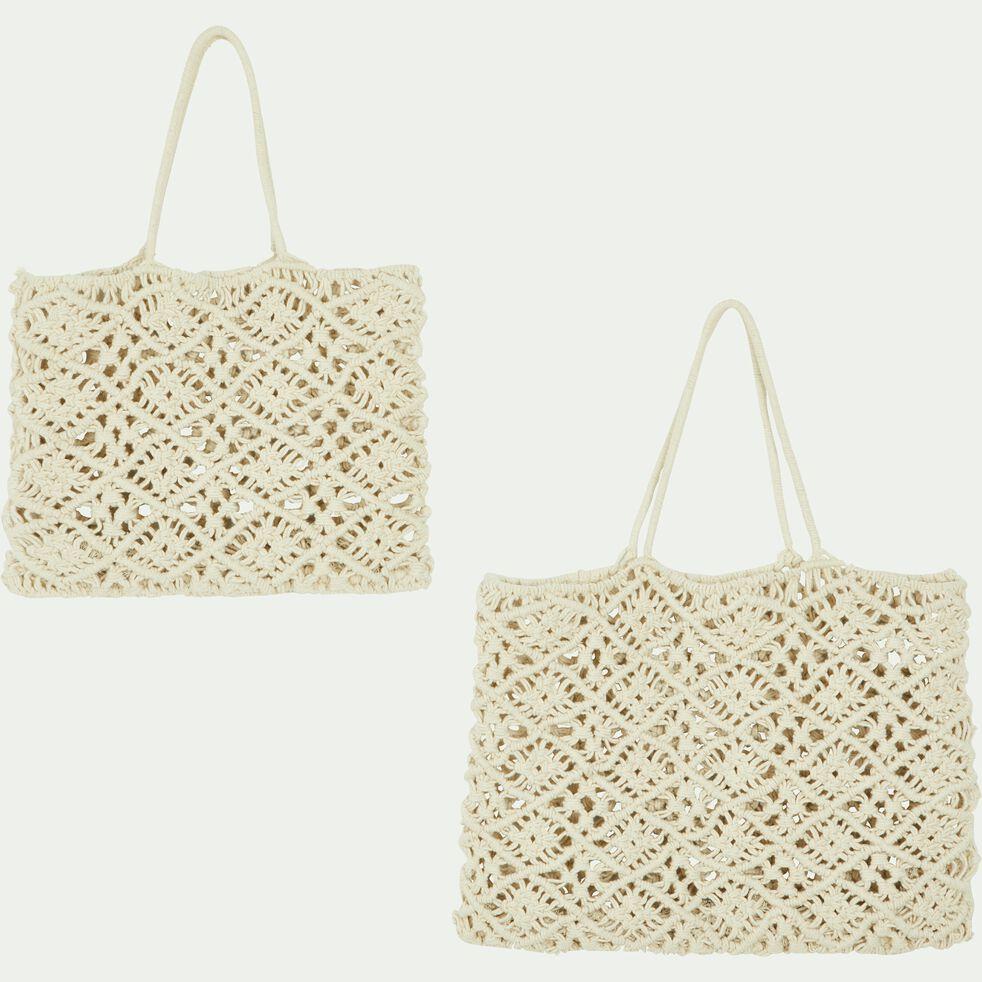 Sac crochet en coton - beige 40x50cm-SUZANI